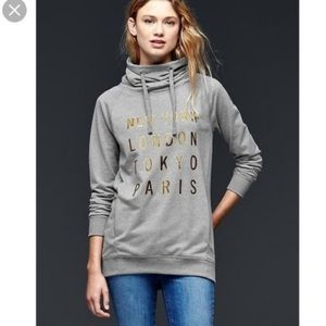 Gap City Logo Funnel Neck Boyfriend Sweatshirt xs